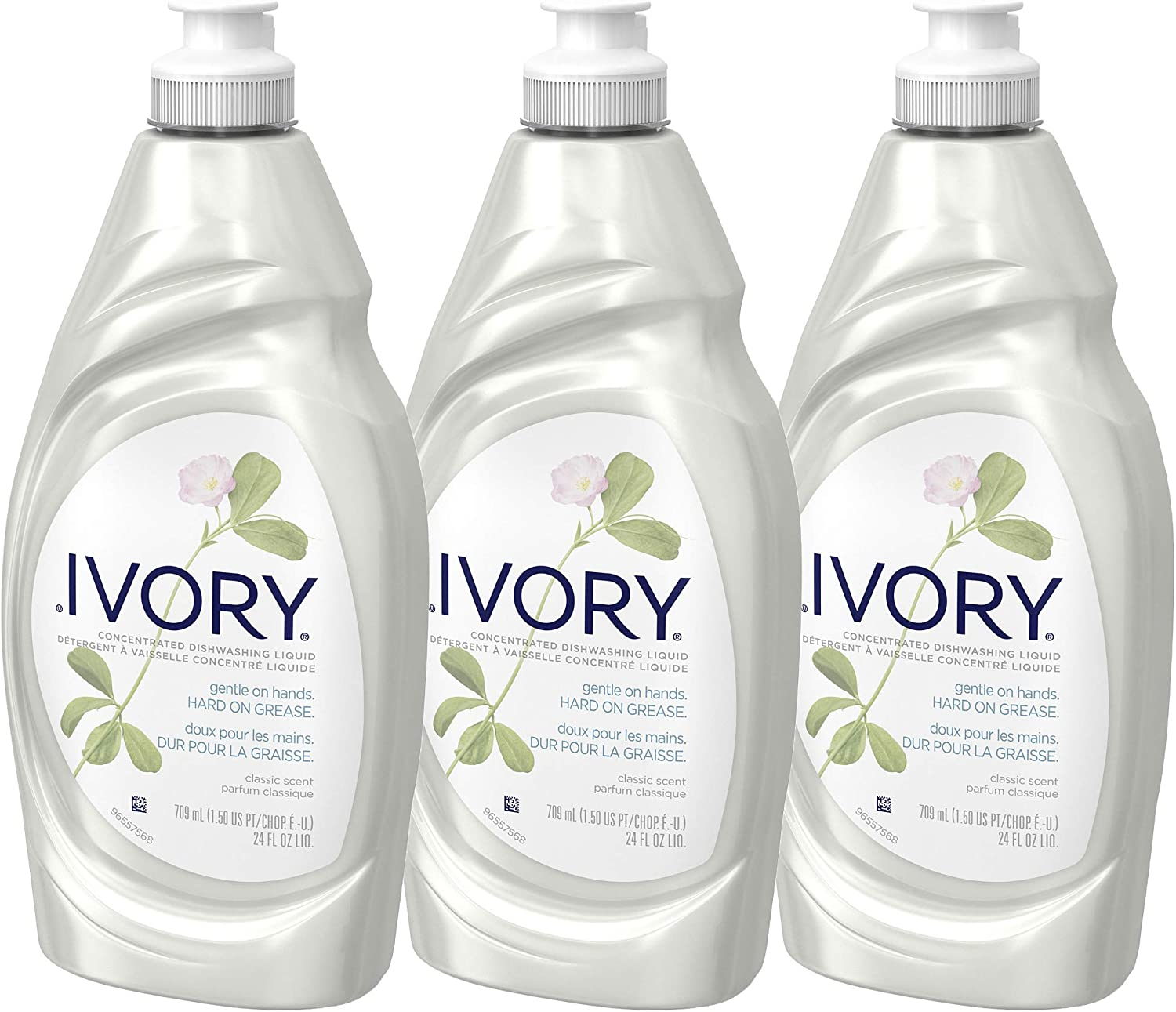 Ivory Dishwashing Liquid Dish Soap, Pack of 3 - Gentle On Hands - Classic Scent - 3 x 24. Fl.Oz