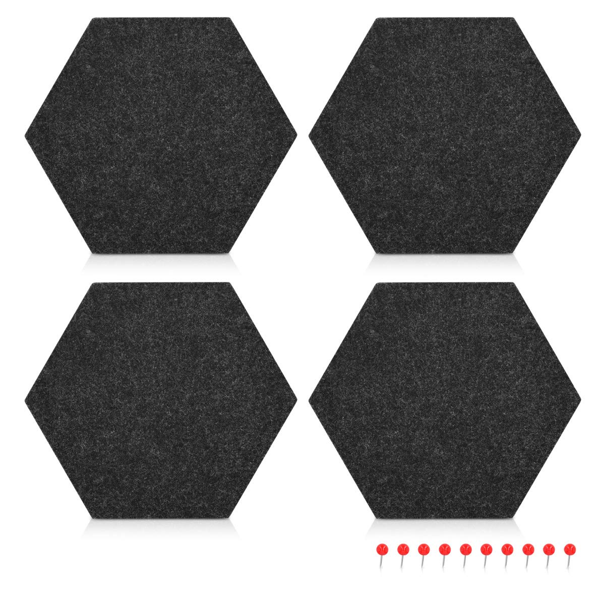 Navaris Hexagon Felt Board Tiles - Set of 6 Notice Memo Bulletin Boards with Push Pins Pack 5.9 x 7 inches (15 x 17.7 cm) - Grey, Turquoise