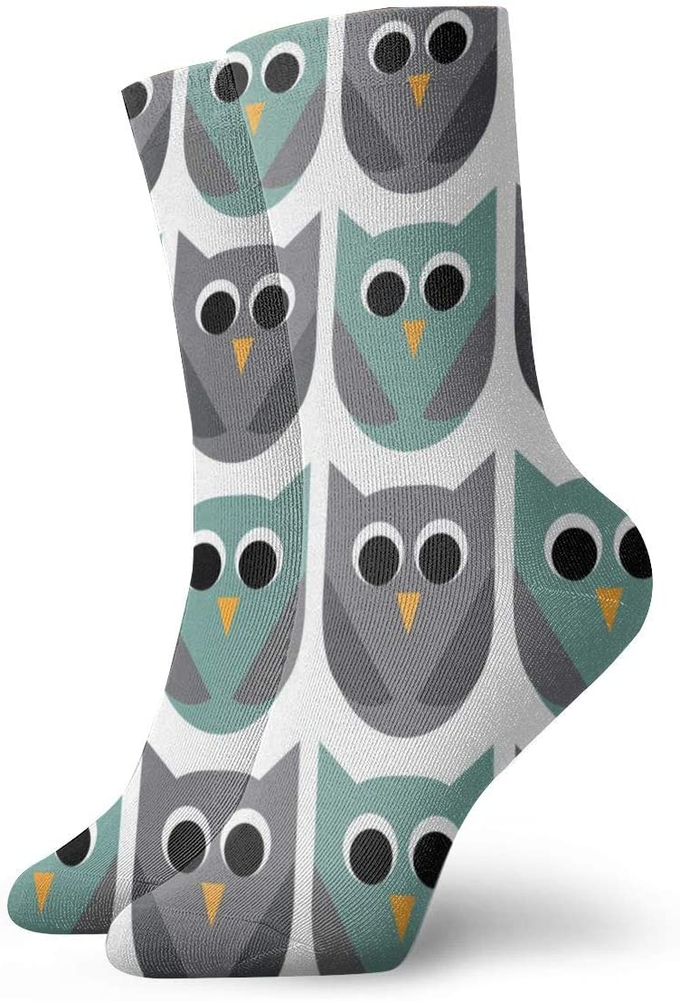 WEEDKEYCAT Owl Cupcake Grey Adult Short Socks Cotton Classic Socks for Mens Womens Yoga Hiking Cycling Running Soccer Sports