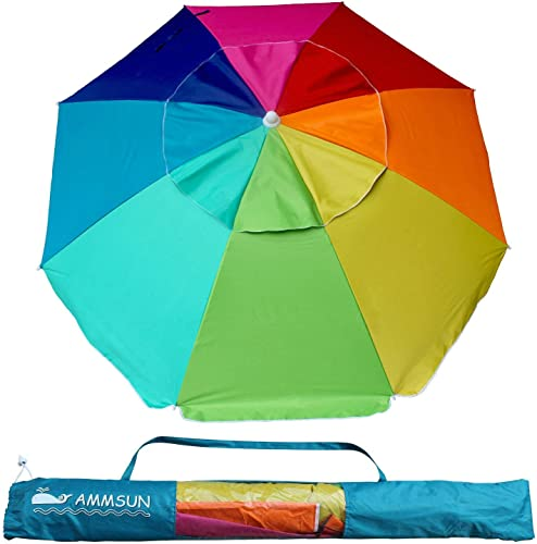 AMMSUN Beach Umbrella, 6.5ft air Vented with Tilt Steel Pole, Portable UV 100 Protection Beach Umbrella with Carry Bag for Outdoor Patio, Rainbow