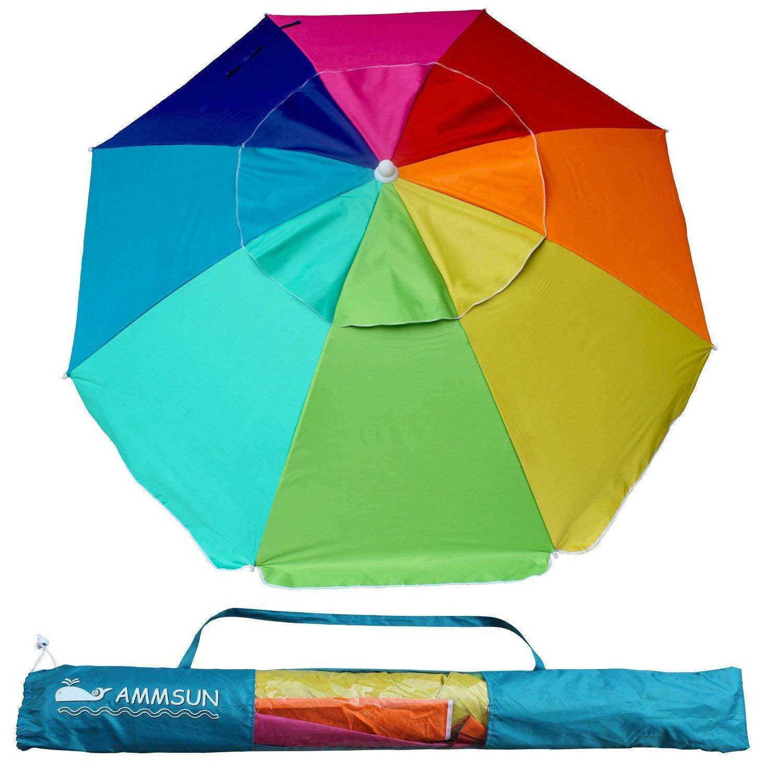 AMMSUN Beach Umbrella, 6.5ft air Vented with Tilt Steel Pole, Portable UV 100 Protection Beach Umbrella with Carry Bag for Outdoor Patio, Rainbow