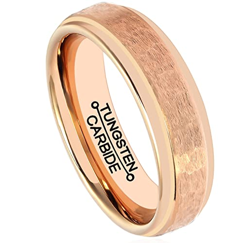 d01c372cd95 Image Unavailable. Image not available for. Color  HSG Tungsten Rings for Men  Rose Gold Plated 6mm Women Wedding Band Engagement Handcrafted Hammered  Grain