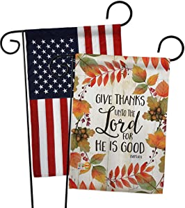 Breeze Decor Give Thanks Unto The Lord Garden Flag Pack Fall Thanksgiving Turkey Gobble Pumpkin Season Autumntime Cornucopia Applique House Banner Small Yard Gift Double-Sided, Made in USA
