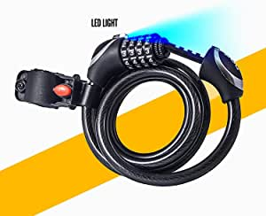 """BoG Products 4.5' Bike Cable Lock with Light 1/2"""" Self Coiling Combination Cable with Soft Plastic Coating."""