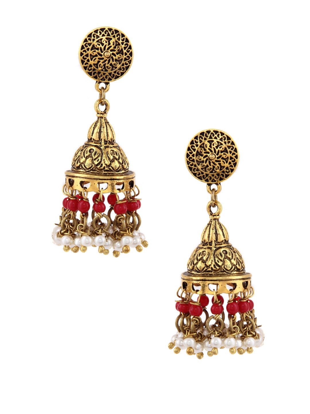 Rubans Oxidized Gold Toned Traditional Indian Jewelry Wedding Stone and Pearls Temple Jhumka Earrings for Women