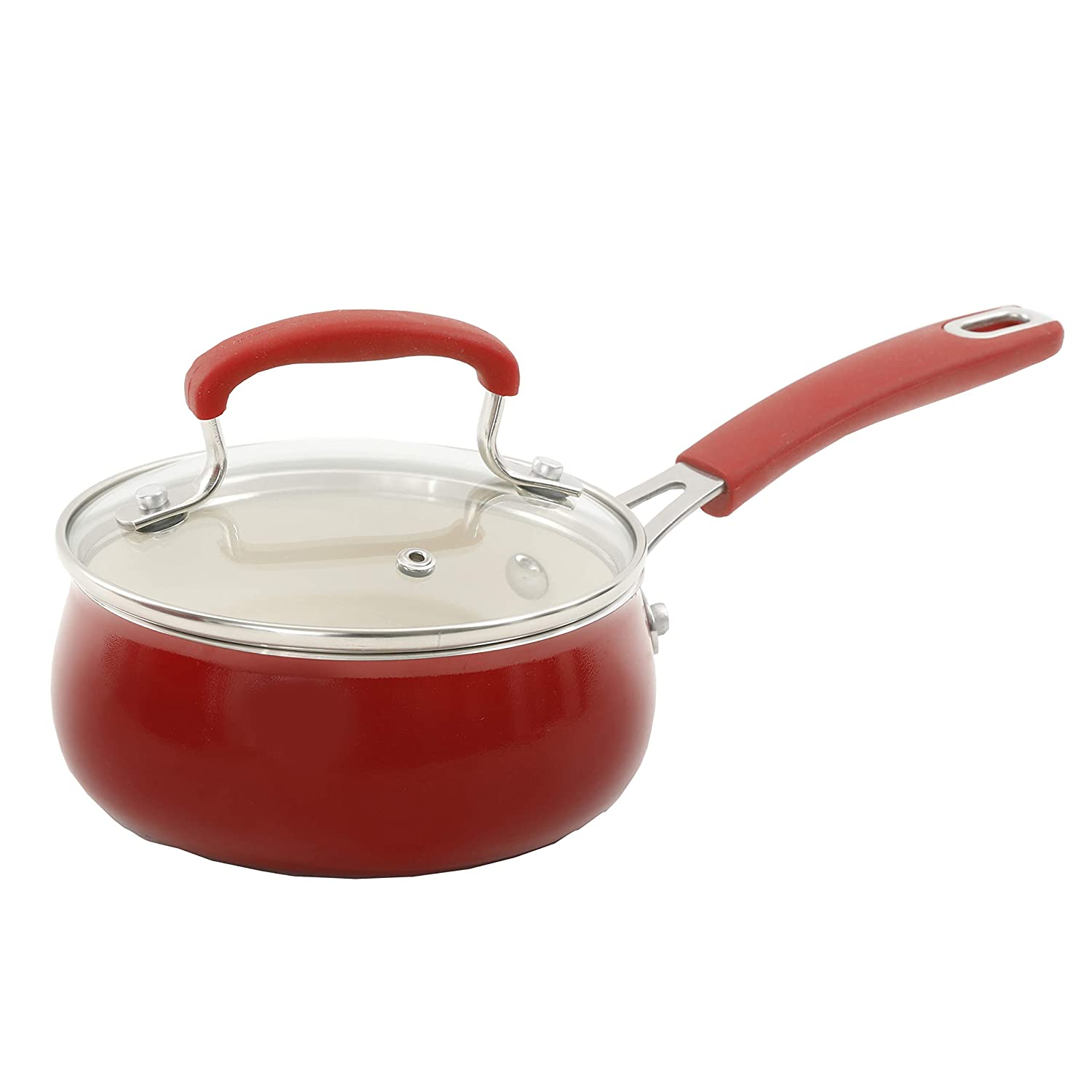 Sunset Red Classic Belly Pioneer Woman 17 Piece Cookware Set Porcelain Enamel Ceramic Nonstick Aluminum with Cast Iron Skillet THE PIONEER WOMAN