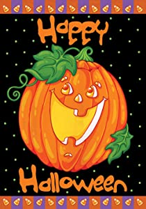 Toland Home Garden Happy Halloween 28 x 40 Inch Decorative Jack o Lantern Pumpkin Candy Corn House Flag
