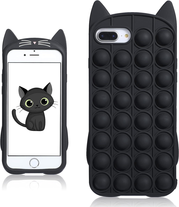 oqpa for iPhone 6 Plus/6S Plus/7 Plus/8 Plus Case Cartoon Funny Cute Fun Silicone Design Cover for Girls Kids Boys Teen,Fashion Cases Fidget Bubble Cat(for iPhone 6 Plus/6S Plus /7/8 Plus 5.5