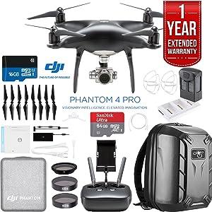 DJI Phantom 4 Pro Quadcopter Drone Camera (Obsidian) with Battery,...