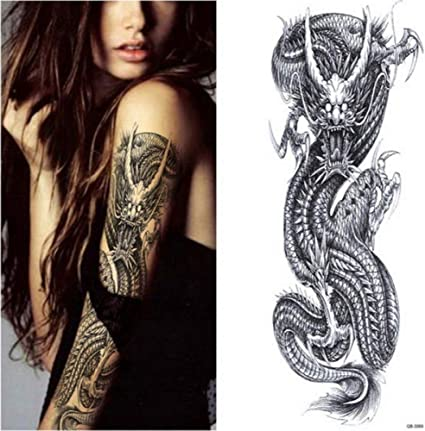 Etiqueta engomada del tatuaje Fox Rabbit Peacock Skull Dragon Full ...