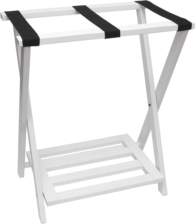Lipper International 502W Right Height Folding Luggage Rack with Bottom Shelf, White Finish