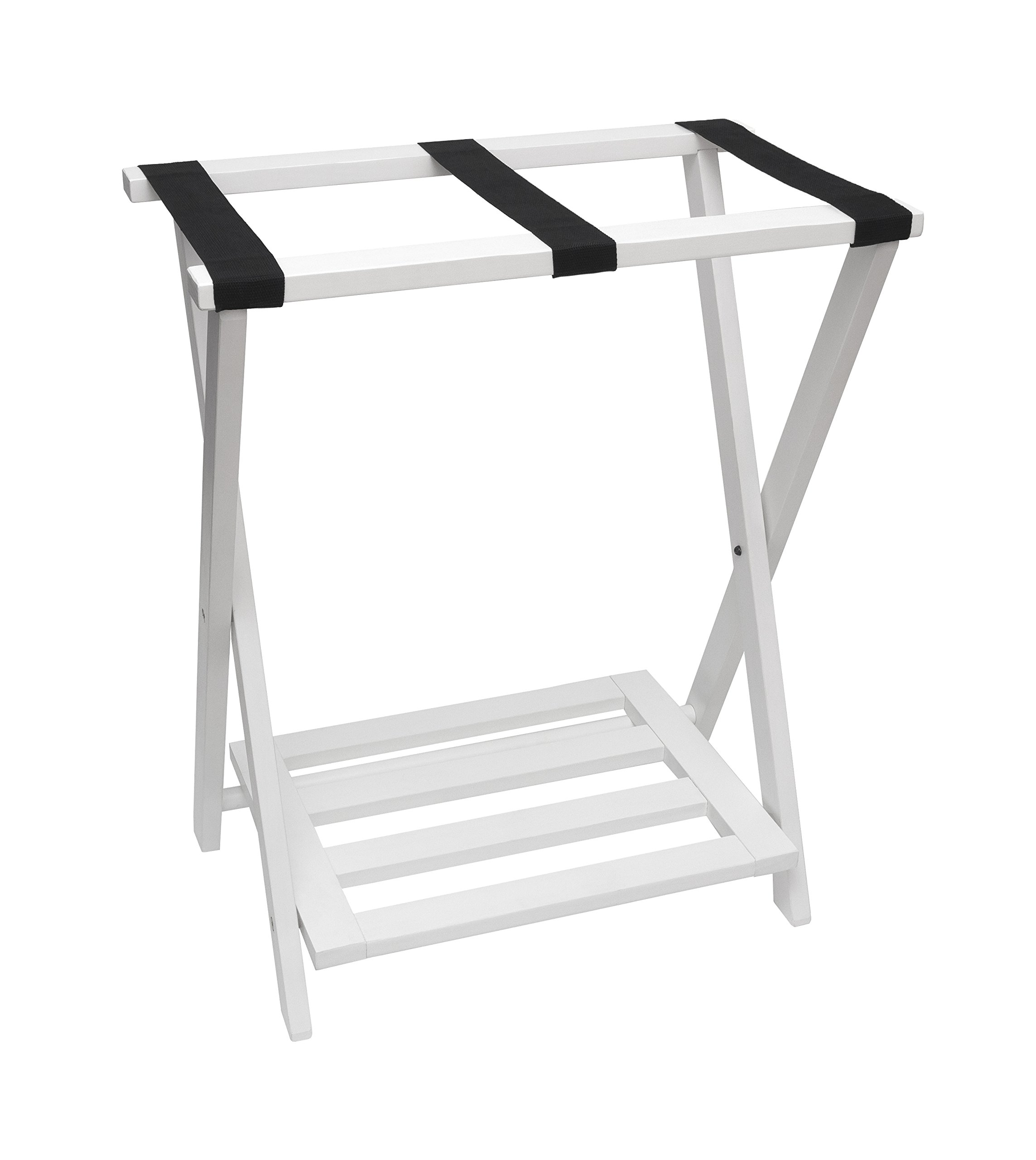 Lipper International 502W Right Height Folding Luggage Rack with Bottom Shelf, White Finish by Lipper International