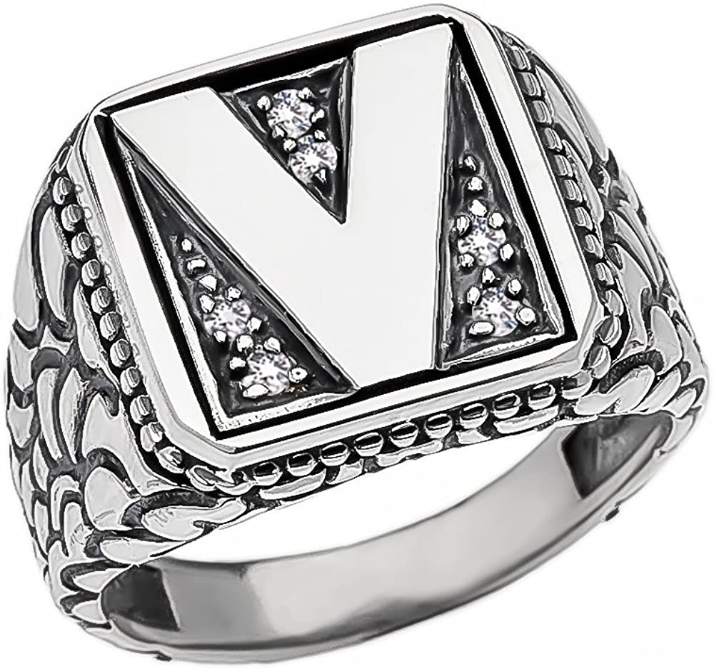 Mens Sterling Silver Cubic Zirconia Initial V Nugget Ring