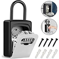 Tobeape Key Lock Box with Hook, Portable Wall Mount Key Storage Box with 4 Digit Resettable Code Combination& Slide…