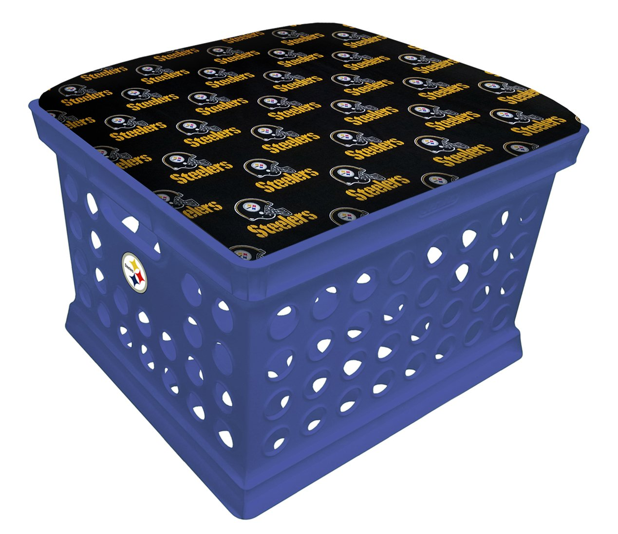 Blue Utility Crate Storage Container Ottoman Bench Stool for Office/Home/School/Preschools with Your Choice of a Football Team Seat Cushion, Decal and a Free Flashlight! (Black Steelers on Black) by The Furniture Cove (Image #1)
