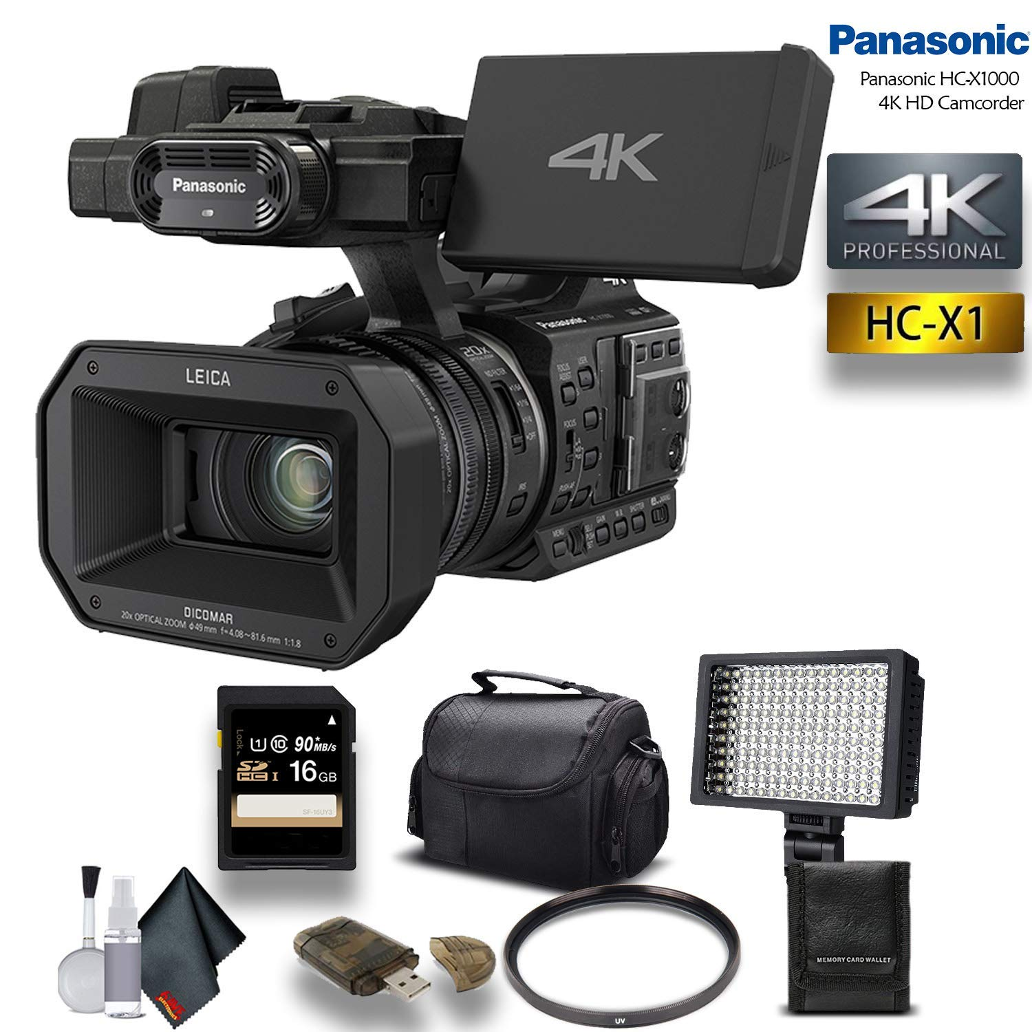 Panasonic HC-X1000 4K DCI/Ultra HD/Full HD Camcorder with 16GB Memory Card, LED Light, Case and More. - Starter Bundle by Panasonic