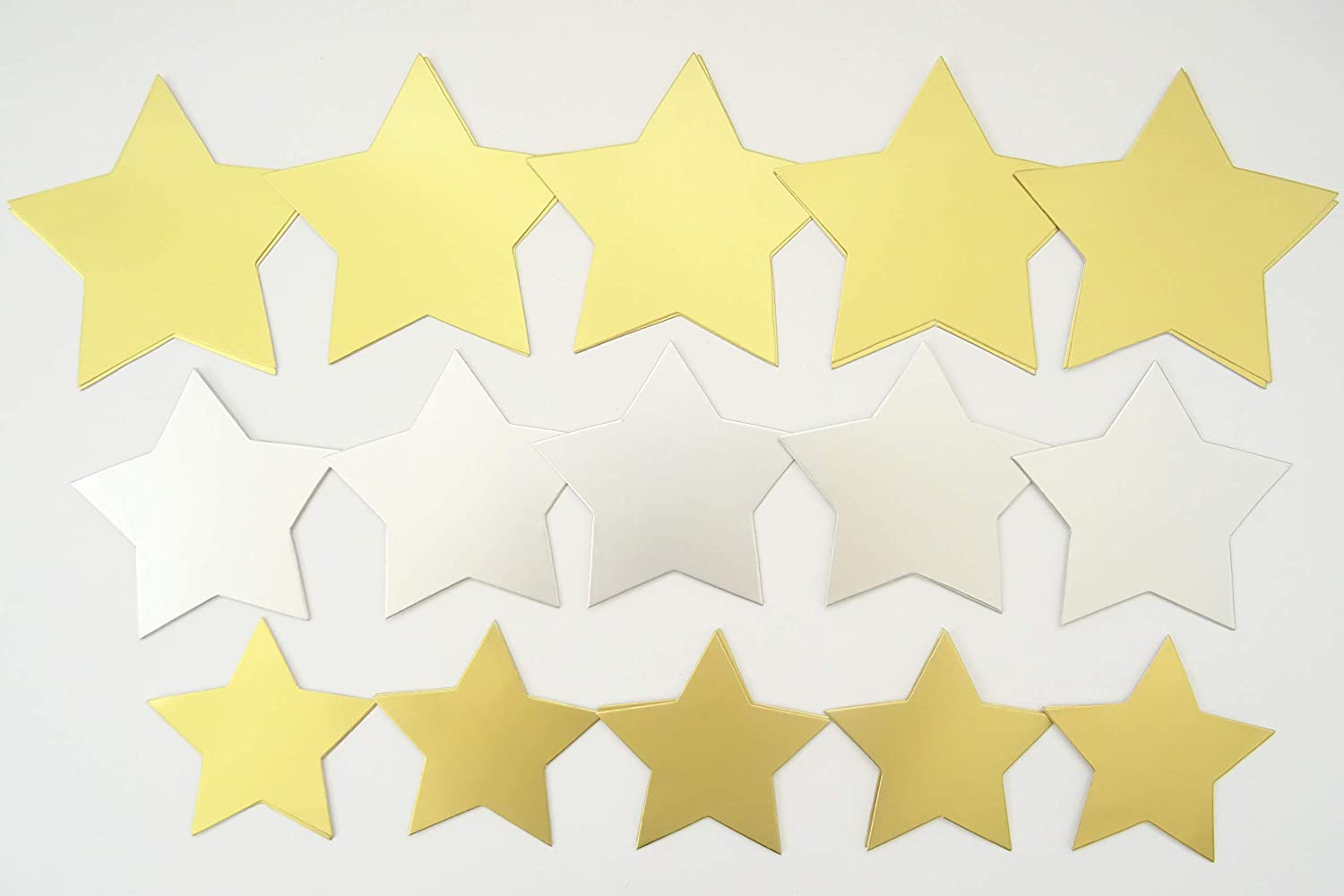 100 x Large Gold /& Silver Card Stars Gift Tags Badges Decorations 3 Sizes