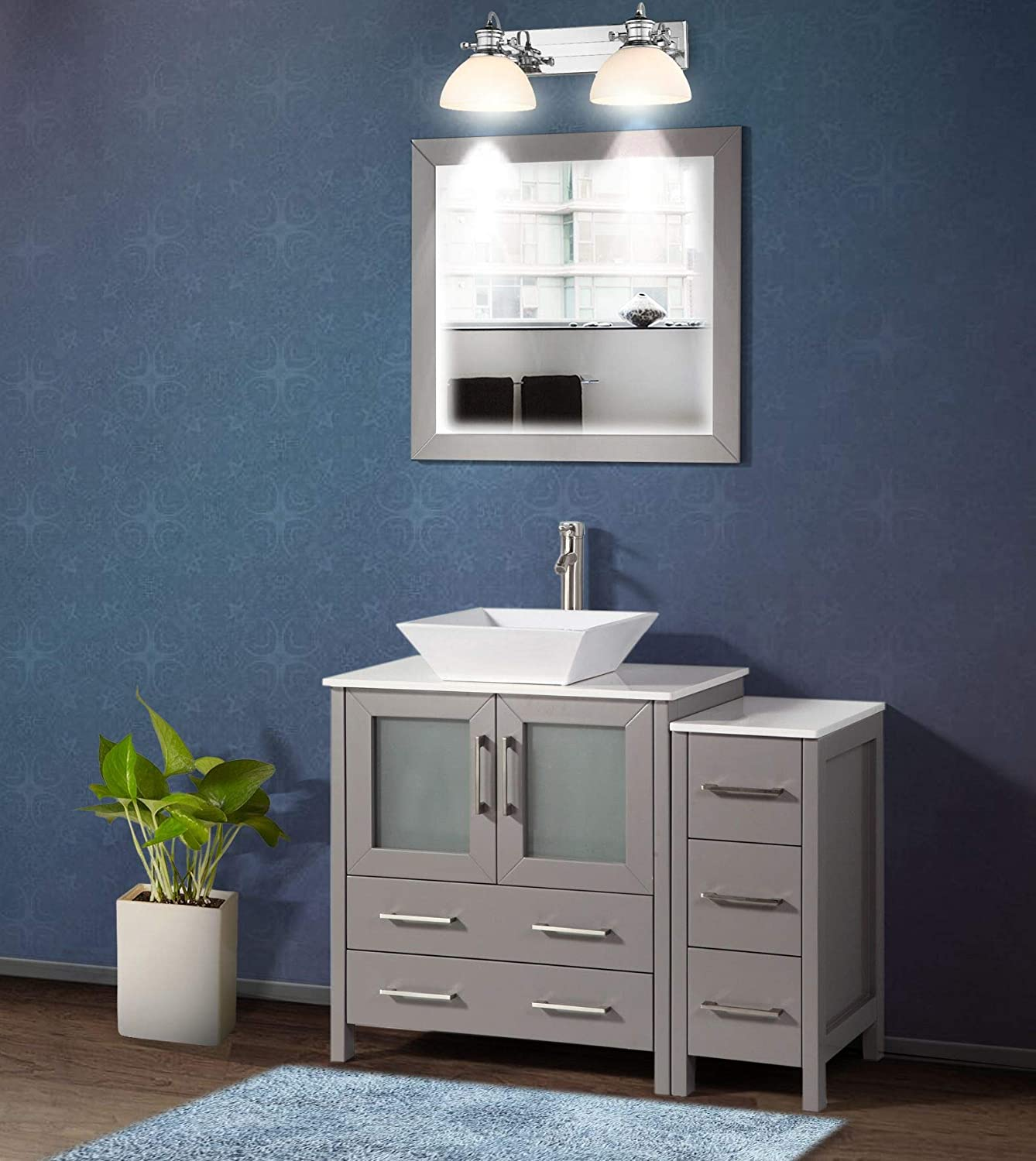 Amazon Com Vanity Art 42 Inch Single Sink Bathroom Vanity Set 1 Shelf 5 Drawers Quartz Top And Ceramic Vessel Sink Bathroom Cabinet With Free Mirror Va3130 42 G Kitchen Dining