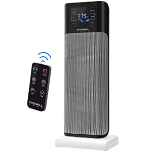Rosewill Electric Tower, Ceramic Portable Oscillating Heater with Thermostat for Small Space Home & Office, Remote Control, 900W / 1500W Dual Heat Settings, RHTH-18001