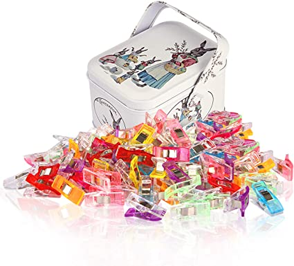 Assorted Colors 100 Pack Multipurpose Sewing Clips for Quilting and Crafts with Tin Box