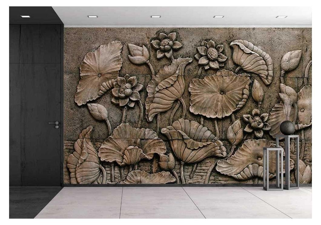 wall26 - Low Relief Cement Thai Style Handcraft of Buddhism - Removable Wall Mural | Self-adhesive Large Wallpaper - 100x144 inches