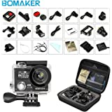 4K Action Camera, Bomaker 60fps 14 M WIFI Sport Anti-Shake Waterproof Camera with 2.4G RF Remote, Dual Screen Display,170 degree Ultra Wide Lens, 2Pcs 1050mah Batteries, Ton of Accessories