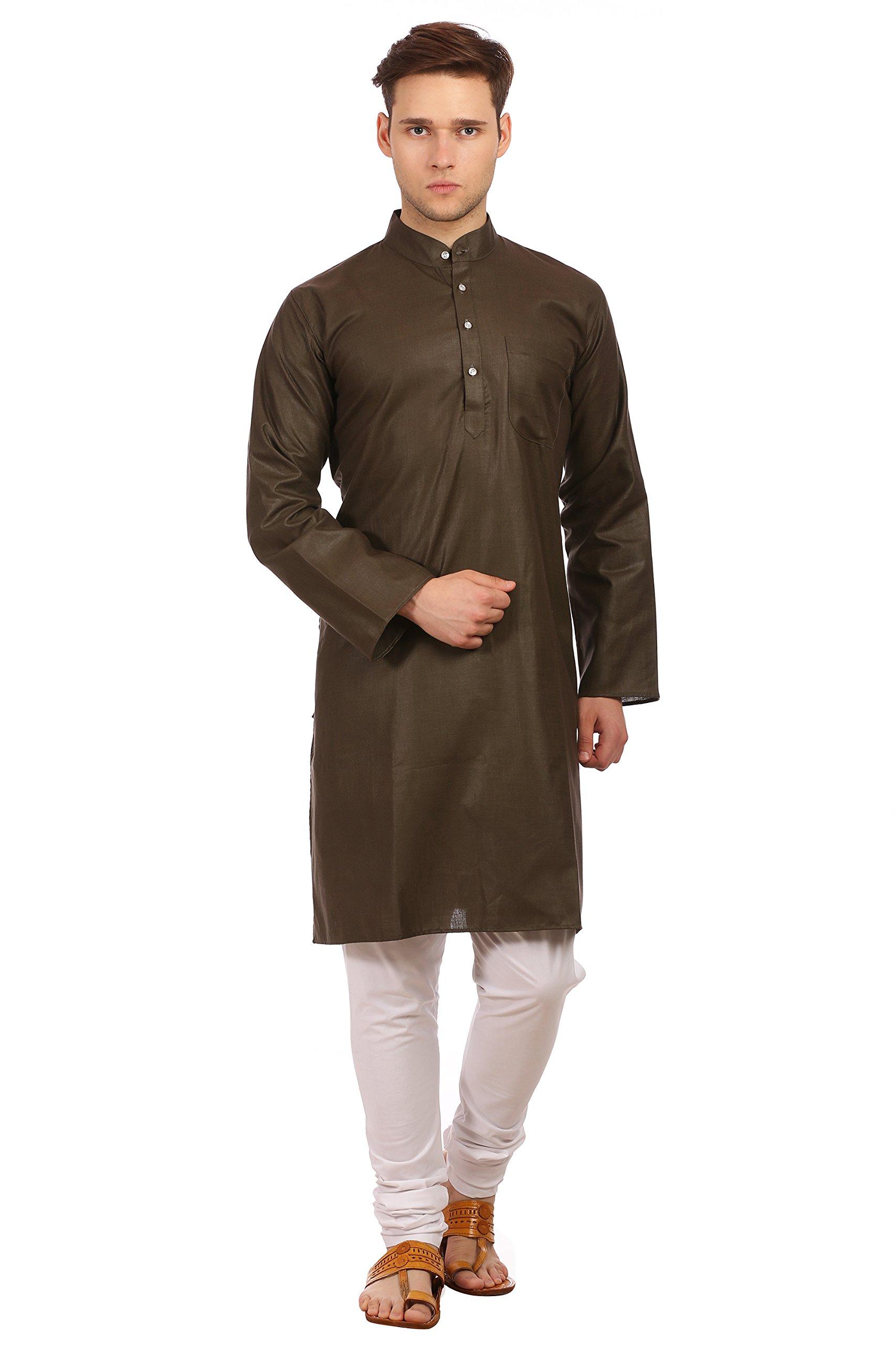 WINTAGE Men's Cotton Silk Festive and Casual Olive Kurta Pyjama