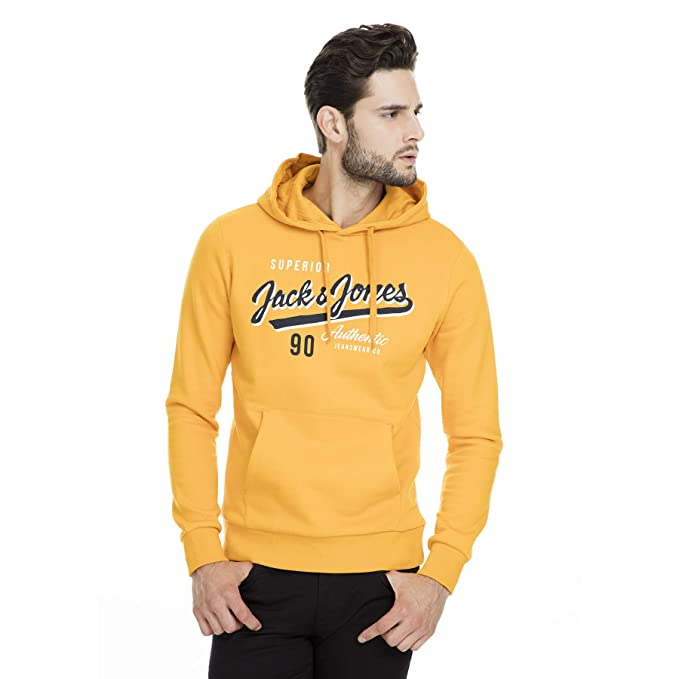 San Francisco 25d7f 65a34 Sudadera Jack and Jones Logo Amarillo Hombre: Amazon.es ...