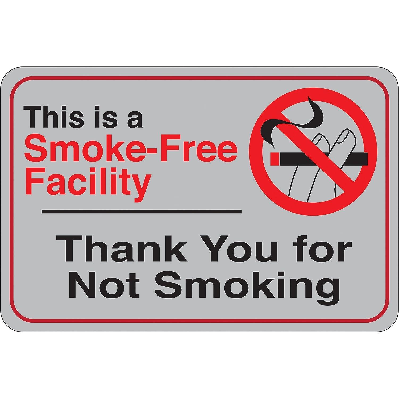 Smoke-Free Facility/… Facility Sign 6 x 9 Gray//Red//Black 1//Each
