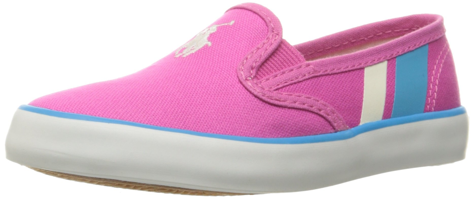 Polo Ralph Lauren Kids Kids' Piper Fch CVS W/WHT PP-Teal Loafer, Fuchsia Canvas/White Pony Player/Teal, 5 M US Big Kid