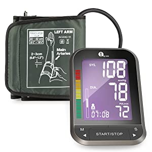 1byone Upper Arm Blood Pressure Monitor with Easy-to-Read Backlit LCD