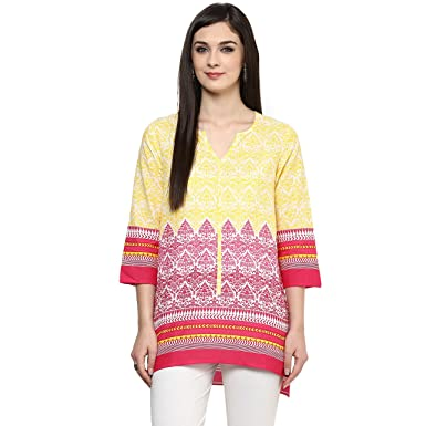 13b341c61f0 Akkriti by Pantaloons Women s A-Line Kurta (110009082 Yellow Small)