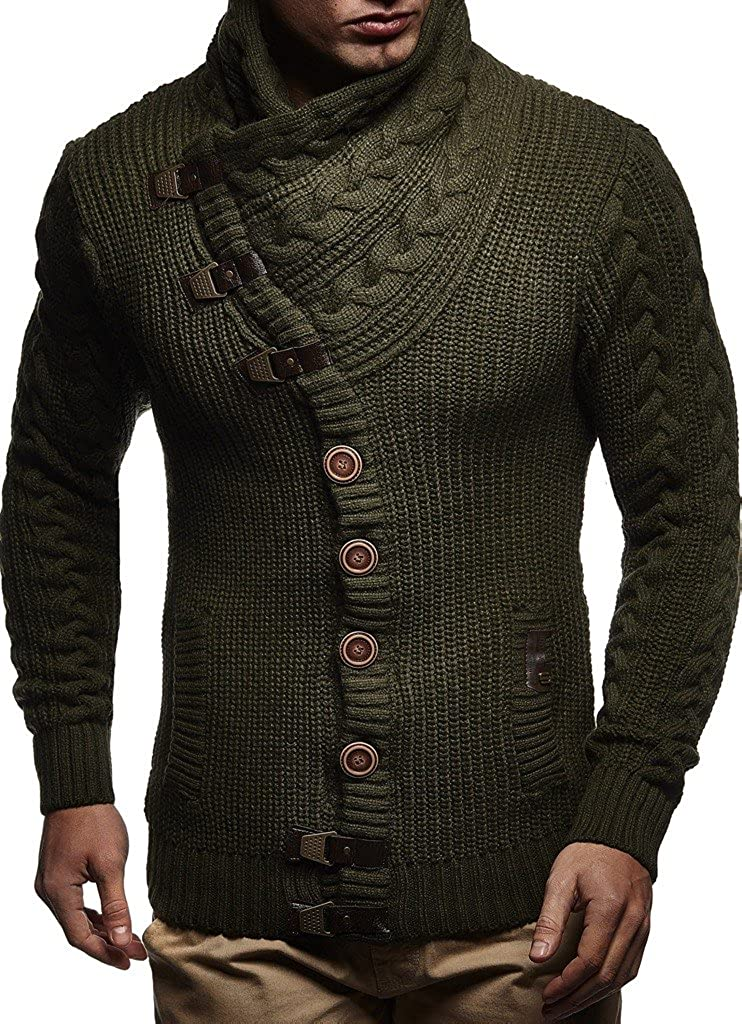 Leif Nelson Men's Knit Cardigan with Turtle Neck LN7080