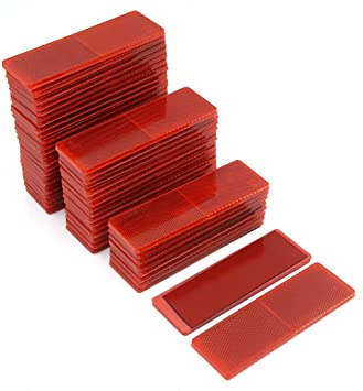 Truck Trailer Plastic Rectangle Reflective Warning Plate Reflectors Red 50 Pcs