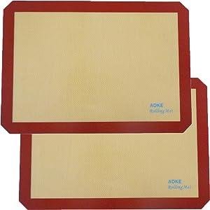 "Silicone Baking Mat Sheet | 2 Pack Non-Stick Cookie Sheets For Baking | Silicone Baking Pad BPA-free Half Sheet Size 11-5/8"" x 16-1/2"""