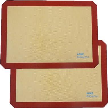Silicone Baking Mat Sheet | 2 Pack Non-Stick Cookie Sheets For Baking | Silicone Baking Pad BPA-free Half Sheet Size 11-5/8  x 16-1/2