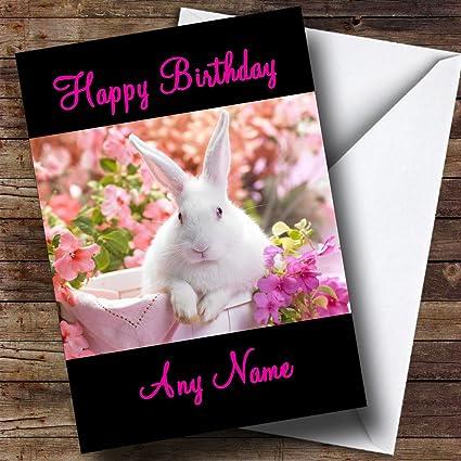 Conejo blanco Tarjeta de cumpleaños Mami papi hijo Hija ...