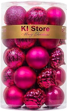24 bolas de Navidad irrompibles (bolas de adorno para árbol de Navidad), 6 cm, fluorescentes, color rosa, de Art Beauty: Amazon.es: Hogar