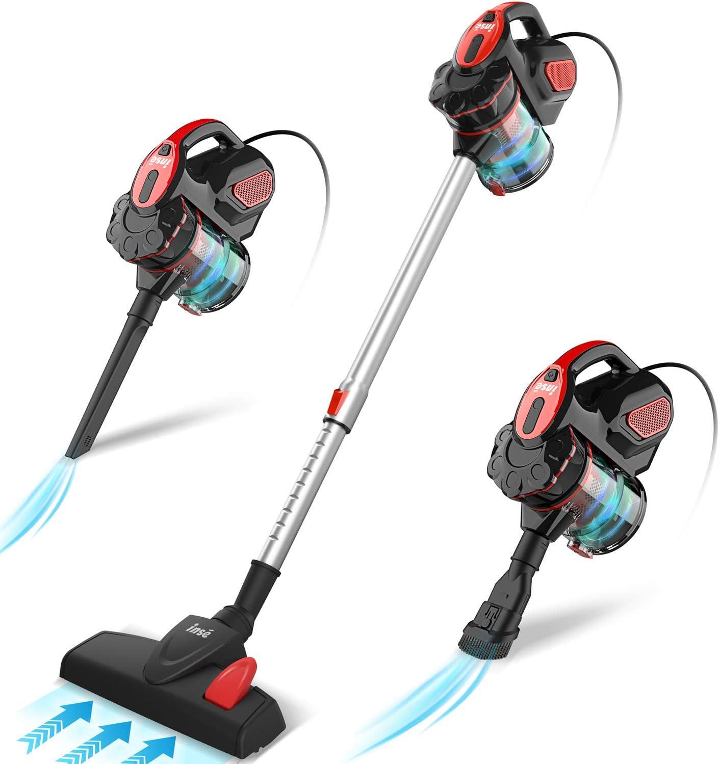 INSE Aspirador con Cable, 3 En 1 Vertical y de Mano, Hogar Escopa Aspiradora, Poderosa Succión 18Kpa, 600W, 1L, Hepa Filtro Lavable, 3 Cepillos Ajustable [Clase de Eficiencia Energética A+]: Amazon.es: Hogar