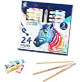 TBC The Best Crafts Watercolor Paint,Set of 24 Vibrant Colors in Tubes(12ml/0.4oz), Washable Water Color Paint for Kids and B