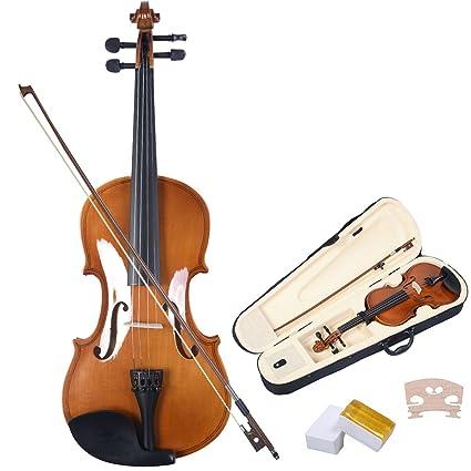 COSTWAY Violinen Geige Set 4/4 Koffer + Bogen + Zubehör Kolofonium aus Holz für Anfänger