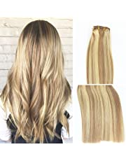Vario Clip in Hair Extensions 15 Inch 7pcs 70g Set #18/613 Mixed Bleach Blonde Silky Straight 100% Real Remy Human Hair Extensions Balayage Hair