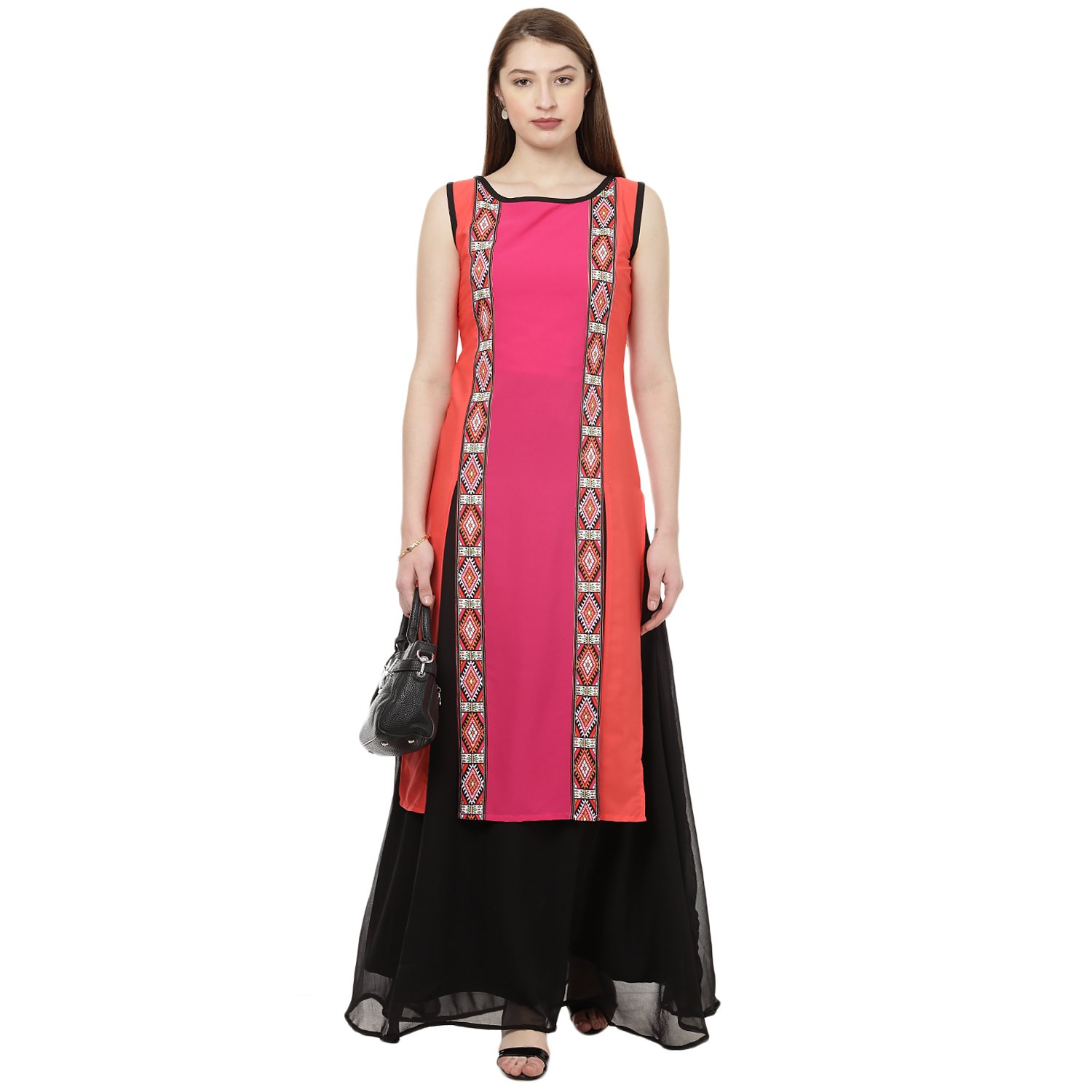 Ziyaa Women's Pink Digital Straight Crepe Kurta
