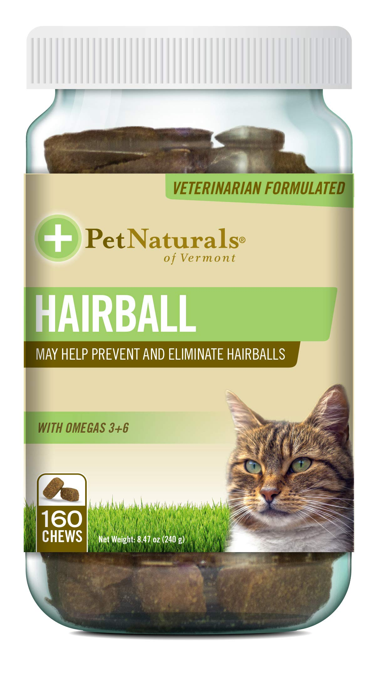 Pet Naturals - Hairball, Daily Digestive, Skin and Coat Support for Cats, 160 Bite-Sized Chews (070031G.160)