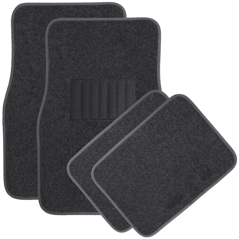 OxGord Universal Fit Front/Rear 4-Piece Full Set Heavy Duty Economy Carpet Floor Mat - (Charcoal) FMCP01A-CC