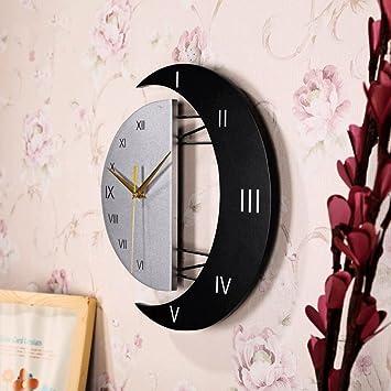 ZLR Sala de estar Reloj de sol y luna Reloj de pared creativo Reloj de arte de moda Mudo Reloj electrónico Reloj de pared decorativo moderno: Amazon.es: ...