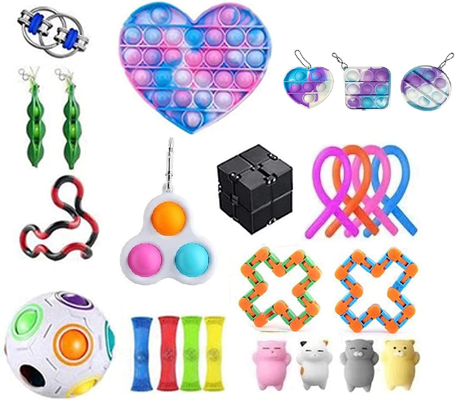 AXYRXWR Sensory Fidget Toys Set,Fidget Toys for Kids and Adults,Autism Needs Stress Reliever Anxiety Relief Toys, Special Toys Assortment for Birthday Party Favors (Random, 25 Pcs)