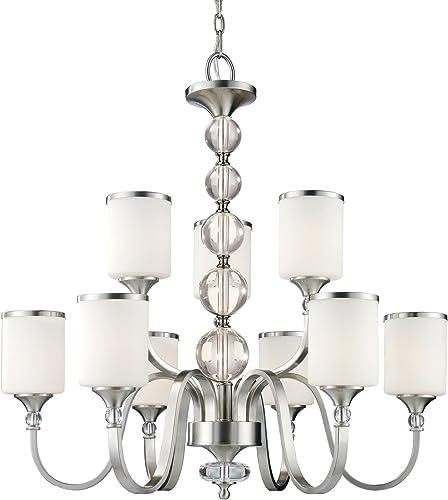 Z-Lite 308-9-BN Cosmopolitan Nine Light Chandelier, Metal Frame, Brushed Nickel Finish and White Shade of Glass Material