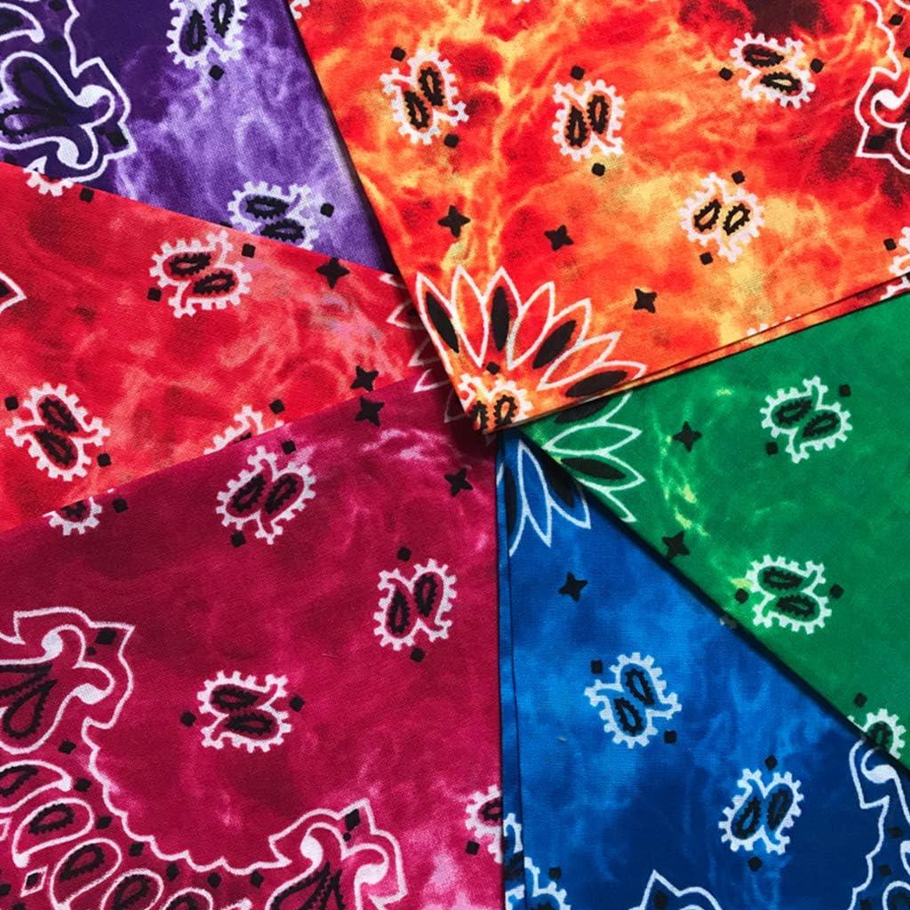 1# ruiruiNIE 55x55cm Unisex Radfahren Outdoor Platz Bandanas Tie-Dye Farbverlauf Bunte Hip-Hop Halstuch Retro Paisley Blumendruck Headwrap
