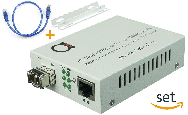 Multimode LC 850 nm Gigabit Fiber Media Converter - Includes SFP 550 m (0.34 miles) LC – to UTP Cat5e Cat6 10/100/1000 RJ-45 – Auto Sensing Gigabit or Fast Ethernet Speed - Jumbo Frame - LLF Support